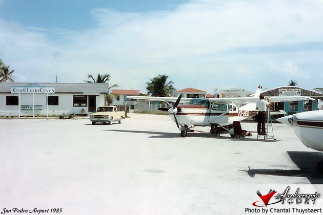 San Pedro Airstrip in the 80's -Tropic Air Airplanes