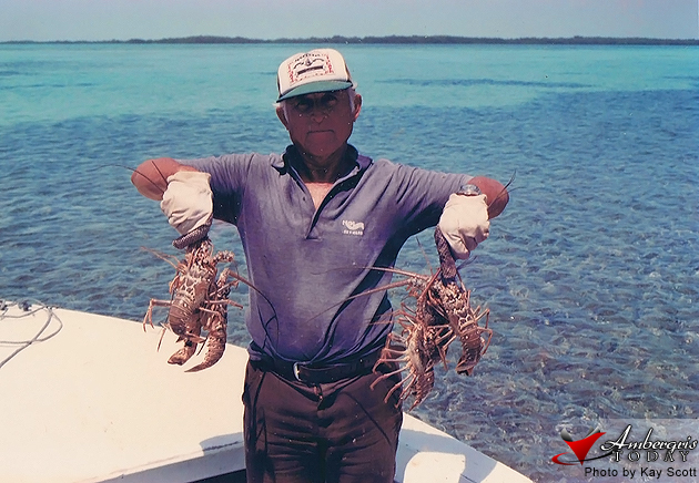 "Mr. Fortunato ""Nato"" Flota with his catch of lobsters"