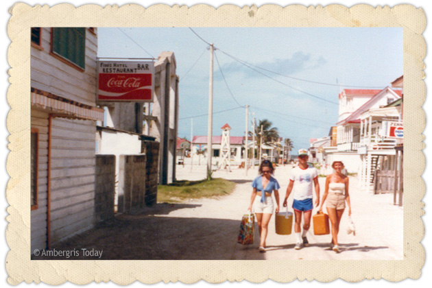 Early Tourists on Ambergris Caye