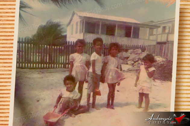 Forman Family at their sandy backyard in San Pedro, Ambergris Caye, Belize