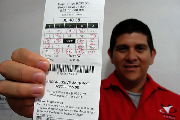 Dorian Nunez and his Mega Bingo Ticket
