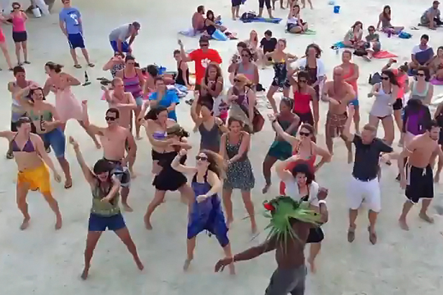 Flash Mob performs PSY Gangnam Style at Caye Caulker Split, Belize