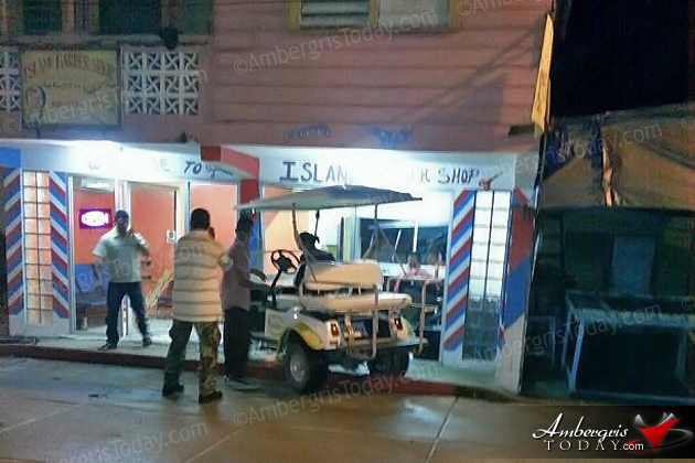 Golf Cart Crashes into Barber Shop