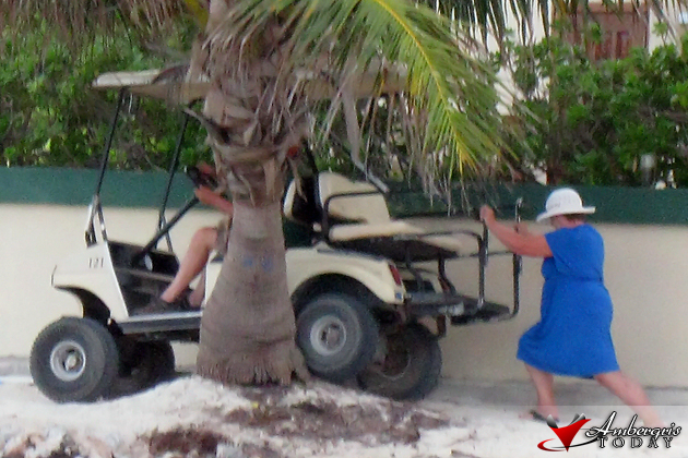 Tourist driving in the beach