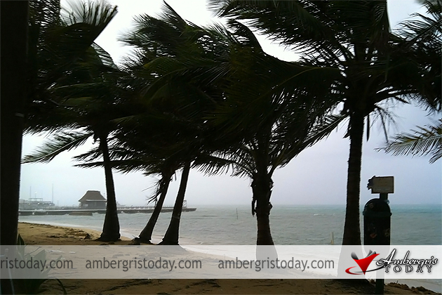 Heavy rainfall in San Pedro, Ambergris Caye from Hurricane Ernesto