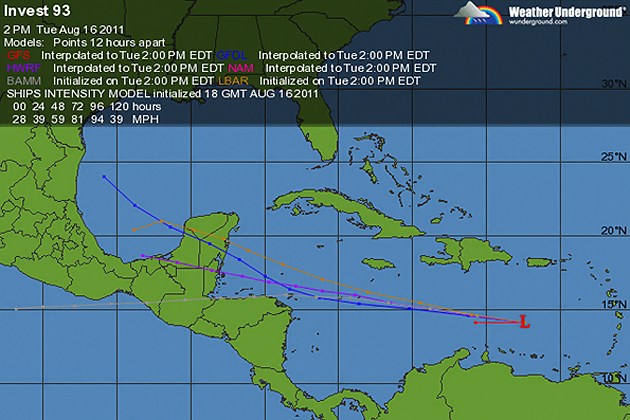 Invest 96-L Shows signs of intensification in the Eastern Caribbean