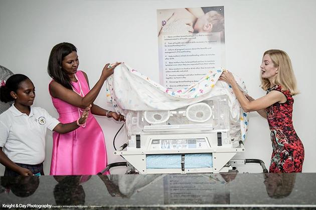 Mrs. Kim Simplis Barrow at inauguration of new Pediatric Neonatal ICU in Belize