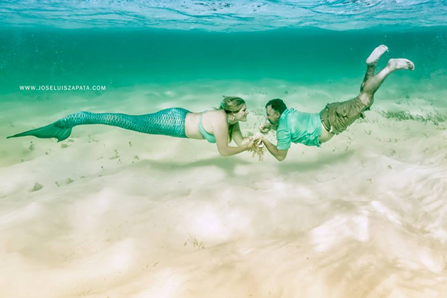 Fairytale engagement in San Pedro, Belize with a mermaid