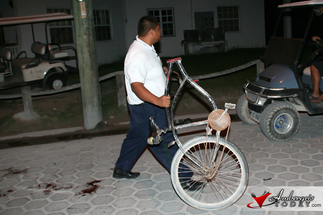 Bicycle involved in accident was totatlly destroyed