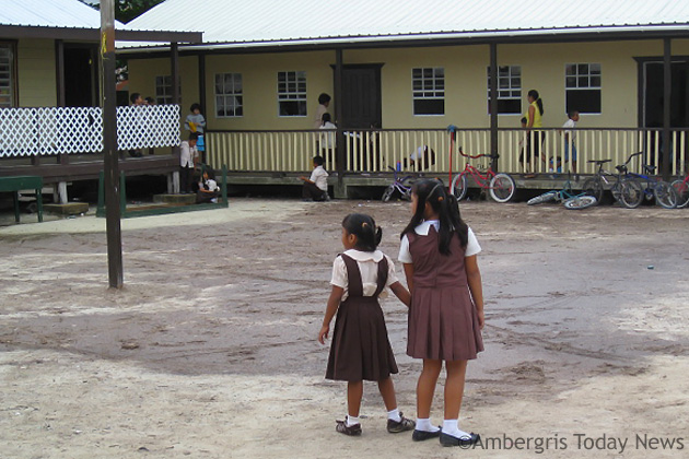 Students at New Horizon's look at deteriorated grounds