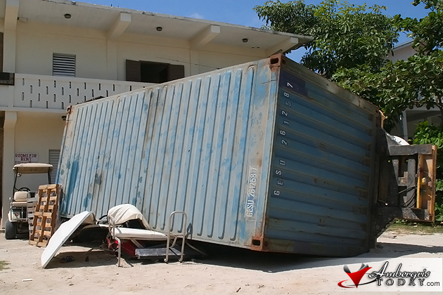 Cargo Container Crushes Golf Cart