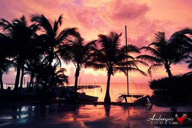 Glowing sunrise during month of October in Belize