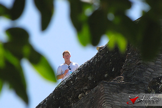 Prince Harry of Whales on top of Belize Maya Ruin Xunantunich