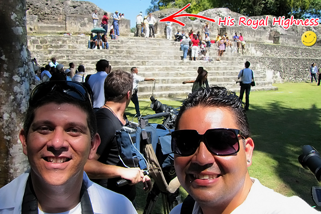 Editor Dorian Nuñez and Gerry Badillo working at Xunantunich Maya Ruins