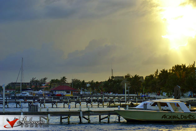 The sun sets on rainy days in San Pedro, Ambergris Caye, Belizea