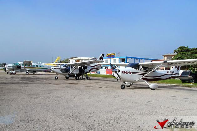 Maya Island Air and Tropic Air planes at John Greif Airport