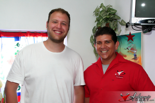 Roni Weiss drops in at Ambergris Today office during visit to San Pedro