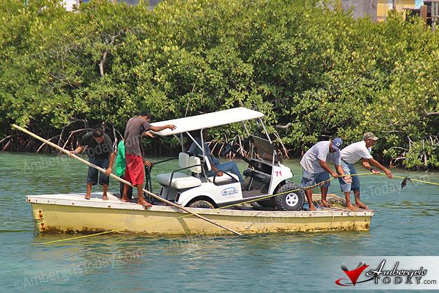 Ferry Service for golf carts at Boca del Rio, San Pedro, Belize