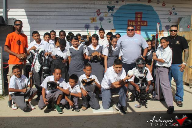 San Pedro Sports Council Donates Softball Equipment to Holy Cross