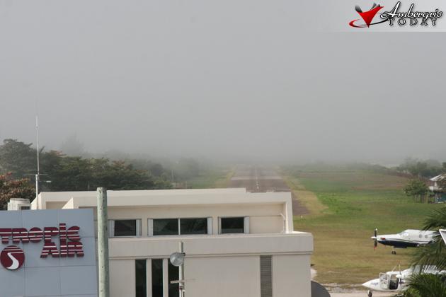 Fog blankets John Greif II Airstrip in San Pedro
