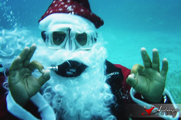 Portofino Resort on Ambergris Caye takes Santa Scuba Diving