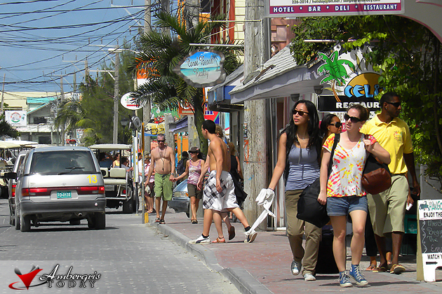 Tourists exploring downtown San Pedro, Ambergris Caye