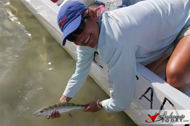 Jenn with a tagged bonefish and proper release