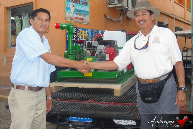 Mayor Daniel receives fogger for San Pedro Town Council