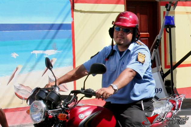 Traffic Warden wears helmet