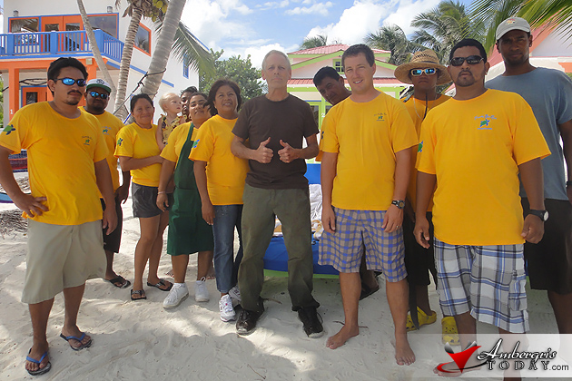Staff of Tranquility Bay Resort with rescued tourist Hal Wulff
