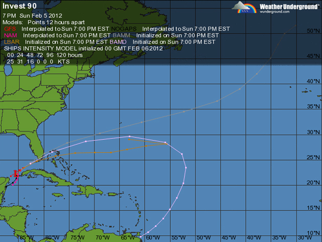 Invest 90L, first tropical low of 2012