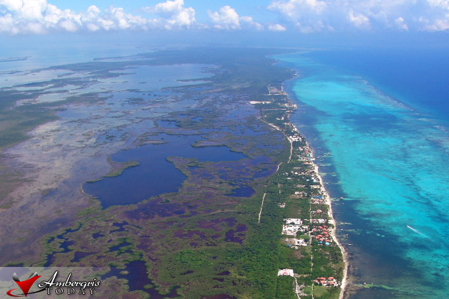 Aerial photo of Ambergris Caye North Side