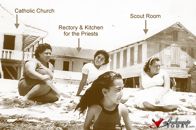Locals Relaxing In Front of The Catholic Church, Rectory and Scout Room