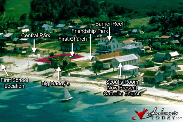 Aerial photo of Ambergris Caye showing the first Catholic church