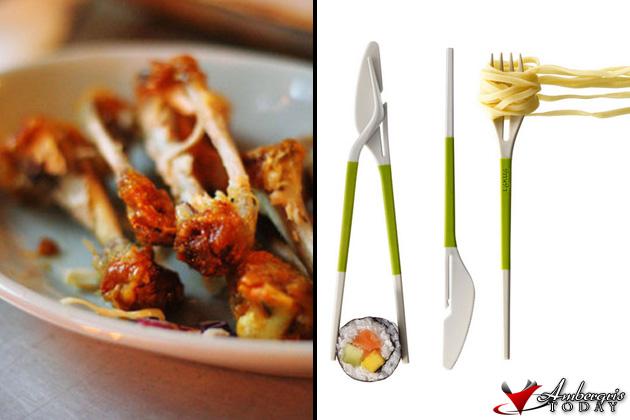 Chicken eaten to the bones vs Knife and fork
