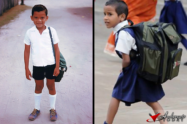 student from the past and modern school boy