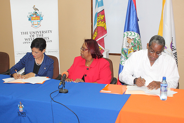 UB and the UWI sign Memorandum to improve tertiary level education in Belize