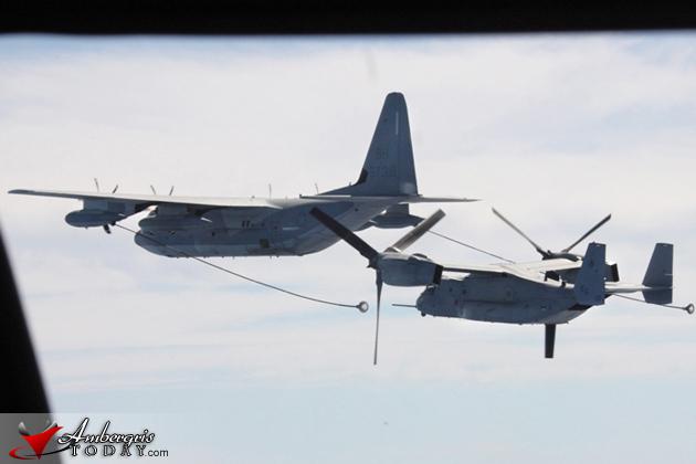 U.S. Marine Corps MV-22B Ospreys visit Belize City