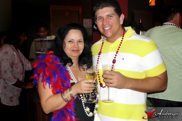 Flor Bradley and Dorian at Wine de Vine Mardi Gras Party