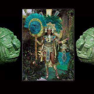 Miss Universe Belize Nationa Costume Depicts Mayan Sun God