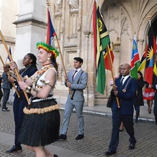 Sanpedrano Flag Bearer at London's Commonwealth Celebrations