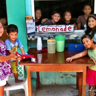 Children set up lemonade stand on hot summer day