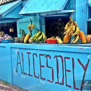 Quaint fruit and deli shops in San Pedro, Ambergris Caye, Belize