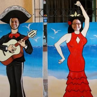 Gerry and Delsie have fun at Caliente Restaurant