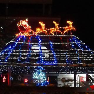 Santa Claus on top of Palapa