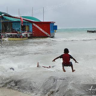 tropical depression causes large wave action San Pedro, Ambergris Caye, Belize