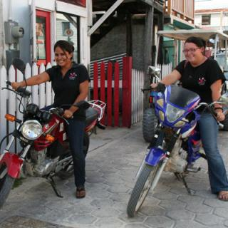 Sofia and Delsie were eager to get a ride on these two motorcycles.