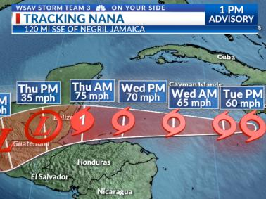 Tropical Storm Nana Expected to Make Landfall as Hurricane in Belize