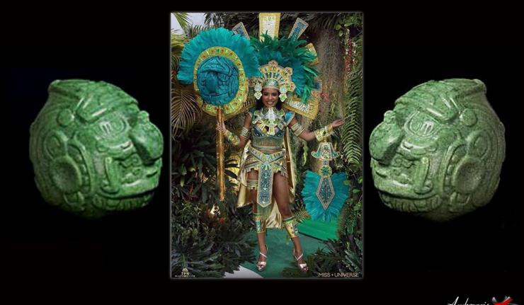 Miss Universe Belize Nationa Costume Depicts Mayan Sun God