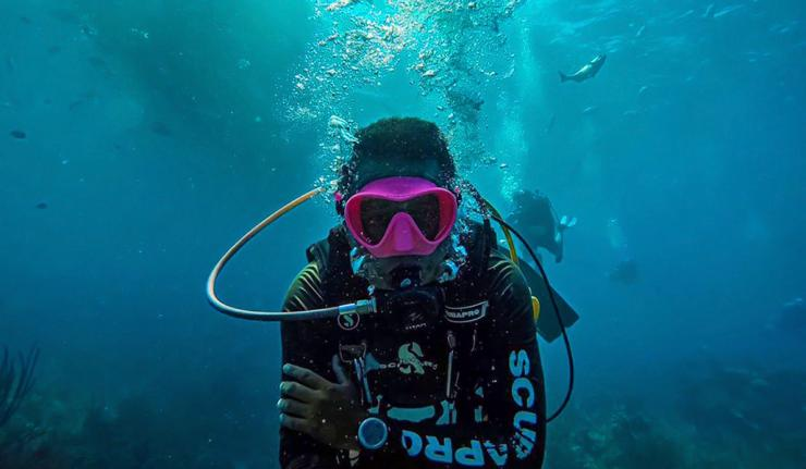 Underwater Selfie at Lighthouse Reef Atoll , Diving Belize
